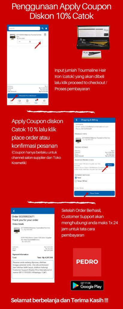 Penggunaan Apply Coupon Diskon 10% Catok
