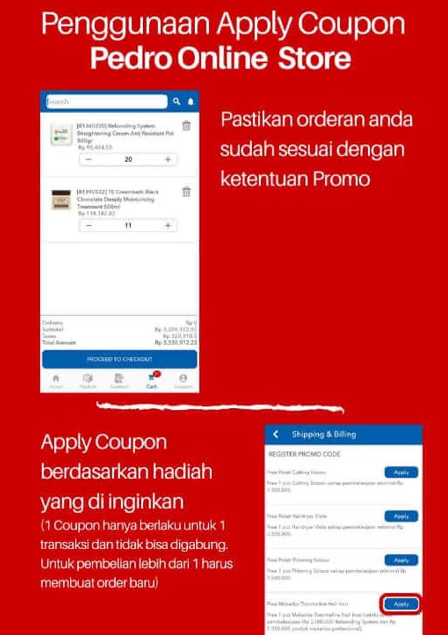 Penggunaan Apply Coupon Pedro Online Store